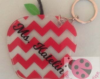 Personalized Apple Keychains - Chevron Print - Quarterfoil Print - Teacher Appreciation Gift - Teacher Gift