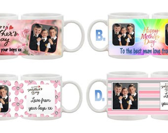 Personalised Mothers day cup with photo and words