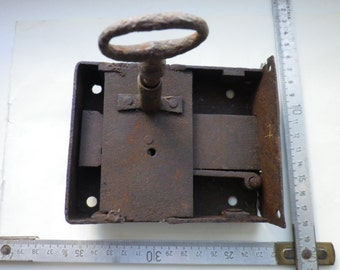 19th / antique door lock with key / still work