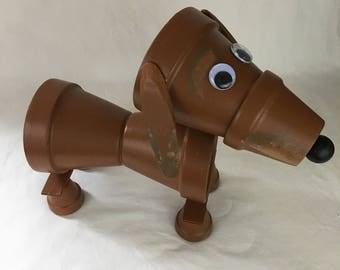 Brown Clay Pot Dachshund