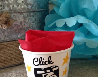 Camera Party, Instagram, Social Media Birthday Party, Popcorn Cup, Ice Cream Cup, Treat Cup, 12 oz Snack Cups, Set of 8, 10, 12 or 15, or 25
