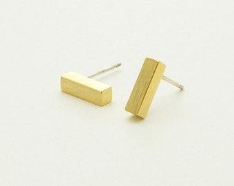 Bar Stud Earrings - gold plated 18 K - pierced ear Chic, minimalist, S079-40% off