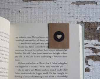 Brown Bookmark, Circle and Heart cutout | Book Accessory