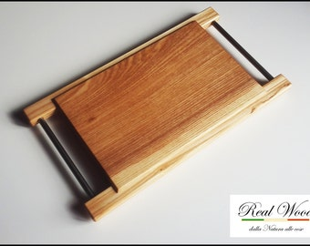 Solid Ash wood chopping board, with steel handles