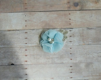 Blue Flower Hairclip, Flower Girl Hairclip, Wedding Clip, Bridal Hairclip, Rhinesyine Hairclip, Fascinator, Bridesmaid, Bridal Shower Baby