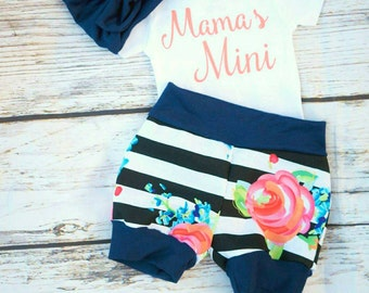 baby girl coming home outfit,floral baby outfit,newborn  floral outfit,summer baby outfit, toddler bubble shorts, mama's Mini outfit, girl