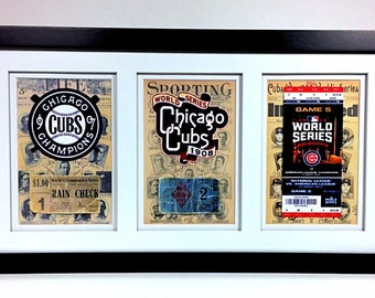Chicago Cubs 1907 1908 & 2016 World Series Ticket Collection Wall Frame