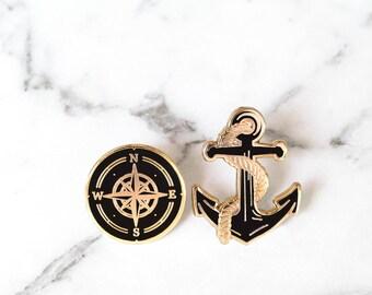 Nautical Enamel Pin Collection - Anchor & Compass