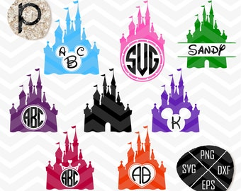 Disney Castle SVG*Disney Svg*Disney Monogram Svg*Princess Castle Svg Frame Cut Files*clipart,eps,dxf,png,jpg*Cutting Files*Cricut*Silhouette