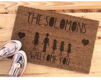 Personalised door mat, house warming gift, new home, custom door mat, business door mat
