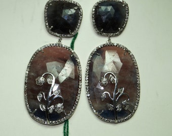 Royal Victorian Style 1.90 Rose Cut Pave Diamond 925 Sterling Silver Valentine Natural Sapphire Earrings Ready To Ship