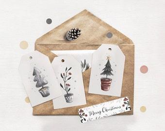 """4 Gift Tags • """"Christmas trees"""" Gift Tag Set •Christmas Tags • Gift Wrap Tags •  Holiday Tags • Gift Labels • Xmas gift tag"""