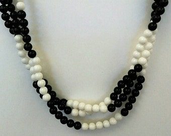 Vintage Black White Multi-Strand Beaded Necklace, Accessories, Fashion Jewelry, Boutique