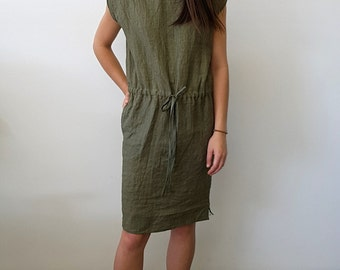 Olive Hand Dyed Linen Dress
