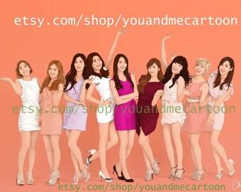 K-pop Star Girl's Generation Illustration, Celebrity Illustrations, Gift Idea