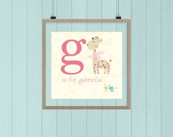 "Custom baby name monogram, ""g"",  Illustration"