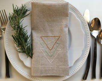 Hand Embroidered Geometric Triangles Linen Cotton Blend Napkin