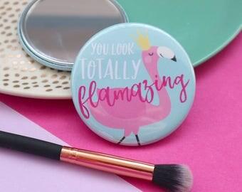 Flamingo gift / Flamingo mirror / Pocket mirror / Cute mirrors / Compact mirror / Bridesmaid favours / Hen party favours / Make up mirror