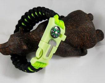 5in1 US Paracord King Cobra Survival Bracelet Firestarter, Compass, Whistle, Cutter/Scraper & US Paracord 550lb Glow in the Dark