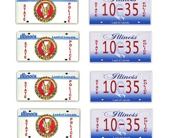 scale model Illinois State Police car license tag plates