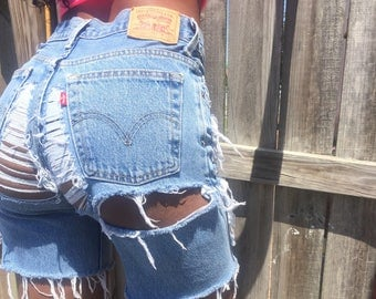 Vintage distressed Levi's cut off shorts