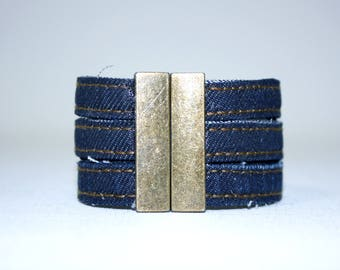 Bracelet three strands in Jean Upcycle