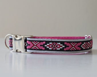 Aztec dog collar, tribal dog collar, girl dog collar, adjustable dog collar, pink collar, medium dog collar, dog collar, hondenhalsband