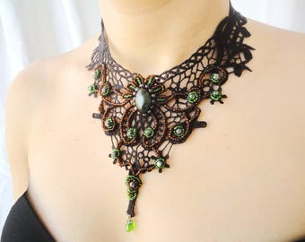 Black lace collar gothic wedding Lace bib necklace Emerald green goth collar Victorian lace beaded necklace Once upon a time Regina Mills