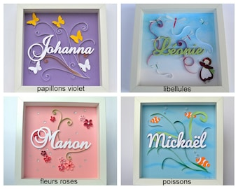 Table name theme to choose from-without framework. personalized christening or birth gift. embossed decoration unique children's room, paper cut