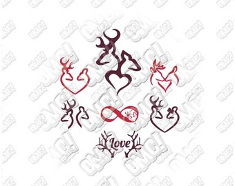 Browning Deers in Love svg dxf eps jpeg layered cutting files download clipart screen print die cut decal vinyl cutter cricut silhouette
