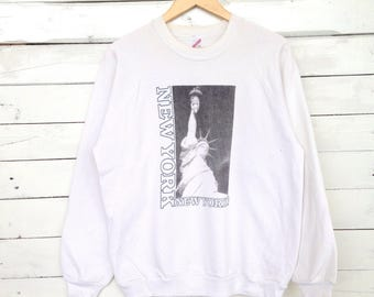 Rare !! Vintage New York 90s Sweatshirt Crewneck Sweatwear Shirt Made in USA Graphic Design #D2