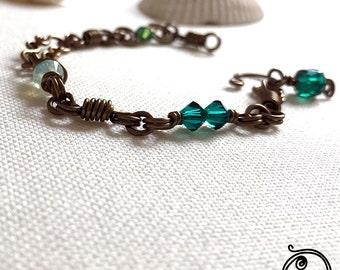 Green Swarovski crystals antique bracelet