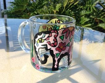 Hand Painted Glass Mug Elephant, Coffee Mug, Tea Mug, Holiday Mugs, Gift for Her, Custom mug, Persanalized mugs, Unique Mug, Coffe mugs