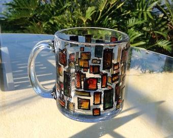 Glass Mug Hand Painted, Cofee Mug, Glass Mugs, Hand Paint Tea Mug, Holiday Mug, Gift for Mum, Gift for Her, Kitchen Decor, Home Decor