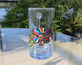 Handpaint Glass Mug, Cofee Mug, Tea Mug, Holiday Mug, Gift for Mum, Gift for Her, Kitchen Decor, Home Decor