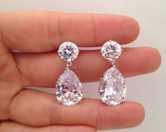 Drop Down Pear Shape Earrings, Vintage Style Earrings, Angelina Inspired Earrings, .925 Sterling Silver & Rhodium Earrings