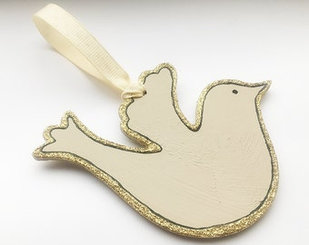 Cream & Gold Glitter Hanging Dove