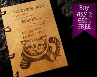 Cheshire cat wooden notebook / Alice in Wonderland notebook / sketchbook / diary / journal / travelbook / Wonderland gift