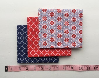Red, White and Blue Fat Quarters Bundle. 3 piece.