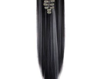 """Black and Silver Clip In Hair Extensions 26"""" Straight Mix Hair Extensions Double Weft Hair Weave Full Set PREMIUM QUALITY"""