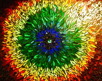 Rainbow Mandala Art Glass Mosaic