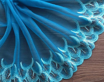Blue/Red Lace Trim - width 15cm,Craft And Sewing Supplies,Doll Lace,DIY Lace Trims,Blue Doll Lace,Trim,Edging Dolls,baby lace trim