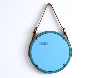 """Modern Mirror """"Gent"""" / Round Mirror / Wall Mirror / Leather Strap Mirror / Circle Mirror / Wooden Mirror / Scandinavian Style Mirror"""