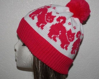 Cerice Pink and White beanie hat with Cats - with or without pompom