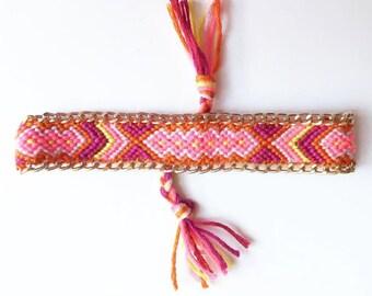 Sale / / / multicolor Friendship Bracelet with gold chain