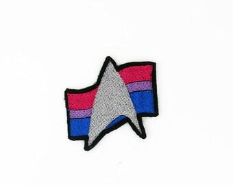Star Trek Bisexual Pride Patch, Star Trek Pride Patch, Bisexual Pride Flag Patch, Iron on Patch, Iron on Pride Patch, Iron on Bisexual Patch