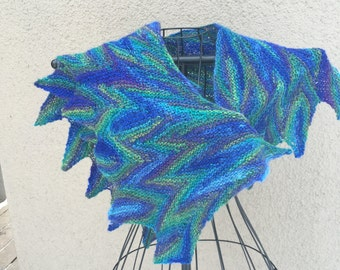 Handknit with Handspun yarns- shades of blue scarf or shawlette