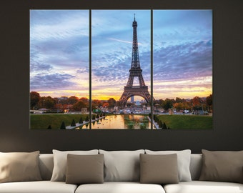 "Eiffel Tower, Paris Sunset Triptych 3-Panel Printed Canvas 1.5"" Thick 