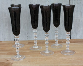 Model Bubbles series of 6 St. Louis Crystal champagne flutes