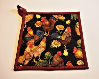 Pot Holders, Quilted Pot Holders, Hot Pads, Quilted Hot Pads, Trivet, Cotton Trivet, Kitchen Pot Holders, Fabric Potholders, Country Farm